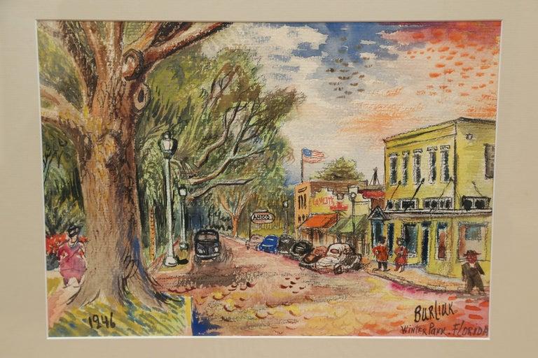 American Original Watercolor of Winter Park, Florida by David Burliuk For Sale