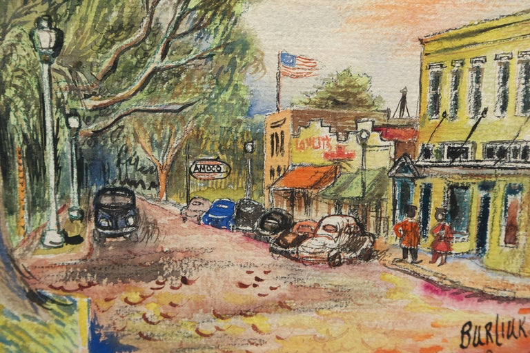 Original Watercolor of Winter Park, Florida by David Burliuk In Excellent Condition For Sale In West Palm Beach, FL