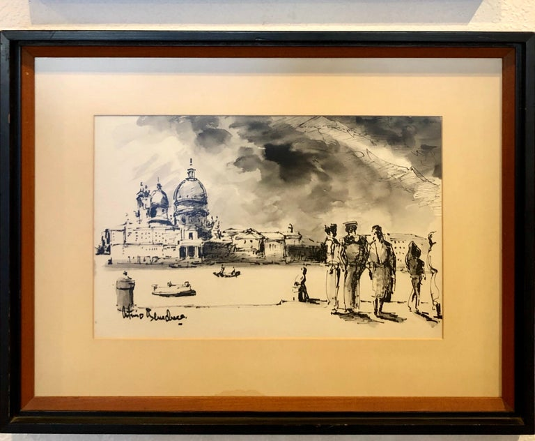 A beautiful 1960s original watercolor, by Italian artist Antimo Beneduce listed artist nicely original frame nice condition with anti-reflective glass, circa 1960s.