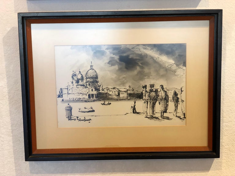Paper Original Watercolor Painting by Italian Listed Artist Antimo Beneduce Framed For Sale