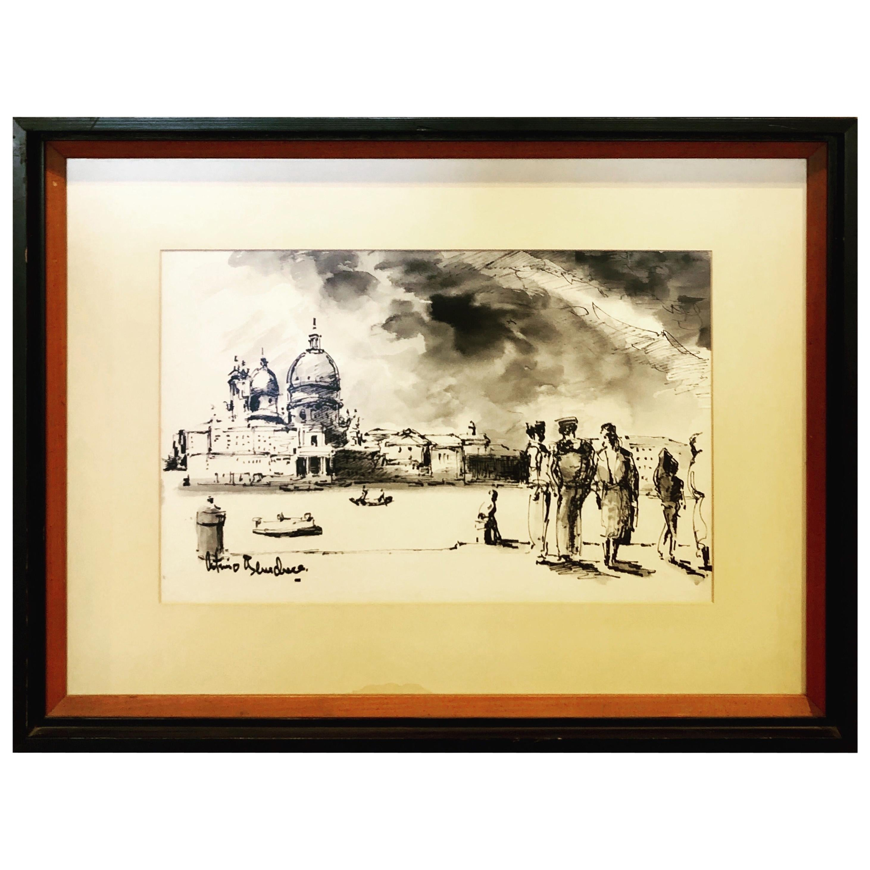Original Watercolor Painting by Italian Listed Artist Antimo Beneduce Framed