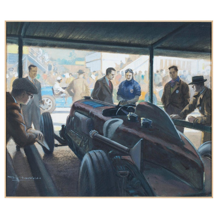 Original Watercolor 'Tim Birkin at Brooklands, 1932' by Roy Nockolds (1911-1979) For Sale