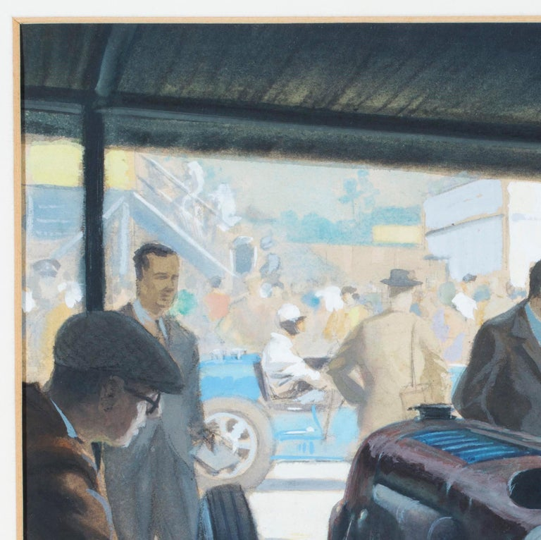A wonderful period watercolor and charcoal on paper depicting Sir Henry 'Tim' Birkin in the pits at Brooklands, preparing to start the BARC Meeting in his 'Blower' Bentley. Birkin is seen in his customary attire of dark blue shirt, proudly sporting