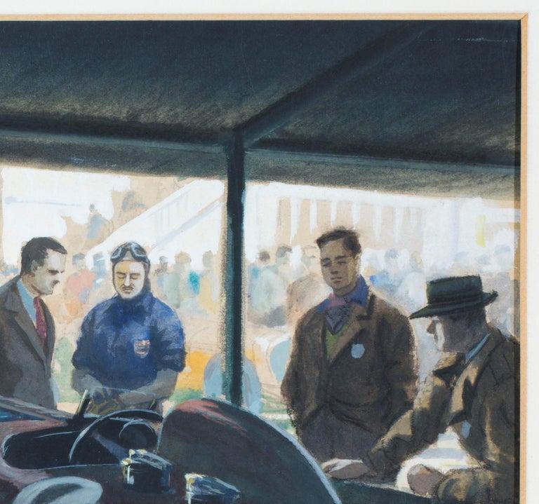 Art Deco Original Watercolor 'Tim Birkin at Brooklands, 1932' by Roy Nockolds (1911-1979) For Sale
