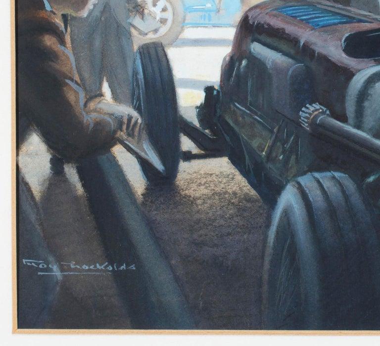 European Original Watercolor 'Tim Birkin at Brooklands, 1932' by Roy Nockolds (1911-1979) For Sale
