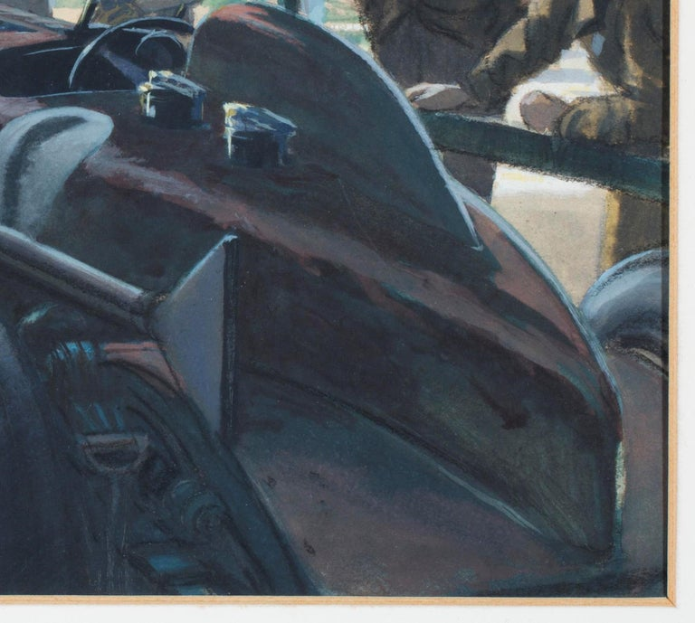 Painted Original Watercolor 'Tim Birkin at Brooklands, 1932' by Roy Nockolds (1911-1979) For Sale