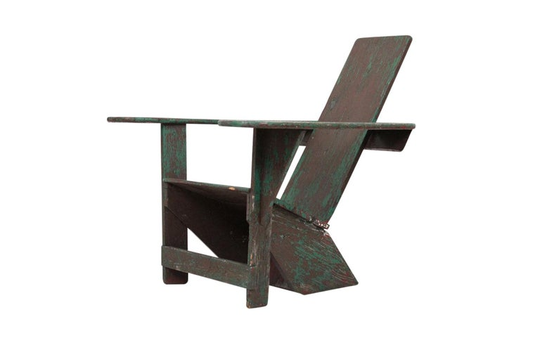 Original Westport Adirondack chair by Harry Bunnell. Designed by Thomas Lee in 1903, patented and manufactured by Harry Bunnell beginning in 1905. This early modernist form was a precursor to later American and European designs of the 20th century.