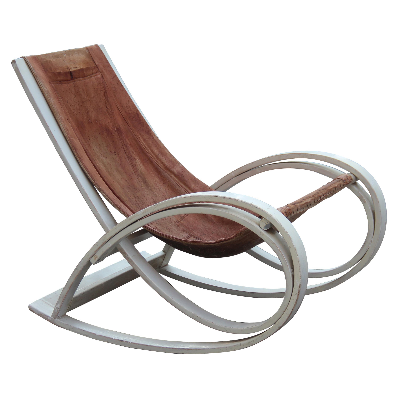 Original White and Brown Aulenti Gae Rocking Chair, 1960 Sgarsul Poltronova