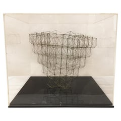 Original Wire Sculpture in Plexi Box by M. Gelfman Pereira