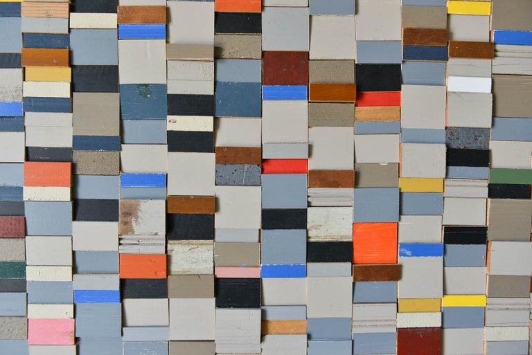Mosaic Original Wood Wall Relief by Michelle Peterson-Albandoz, 2015 For Sale