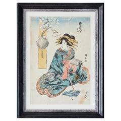 Original Woodblock Print in Antique Frame