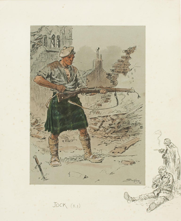 Vintage Snaffles 'Jock' (K.I.) WWI Military Print. A hand colored Snaffles lithograph entitled Jock (K.I). The picture shows a Kilted Infantryman standing amongst ruins, his bayonet in the ground, cleaning his riffle. In the right hand margin is a