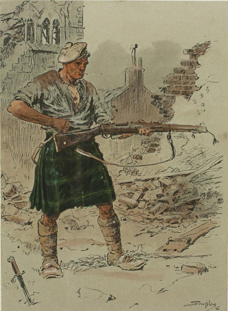 English Original WW1 Military Print, Jock 'K.I' For Sale