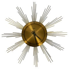 Exyta Large Midcentury Sunburst Atlanta Heavy Brass Wall Clock Battery Operated