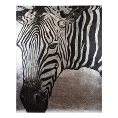 Original Zebra Acrylic Painting on Silver foil