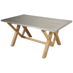 Original Zinc Top Farm Style Dining or Kitchen Table in Any Dimension