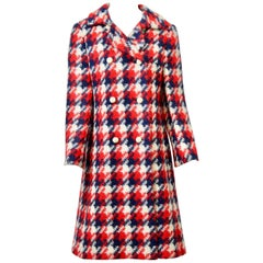 Originala 1960s Red/White/Blue Plaid Coat