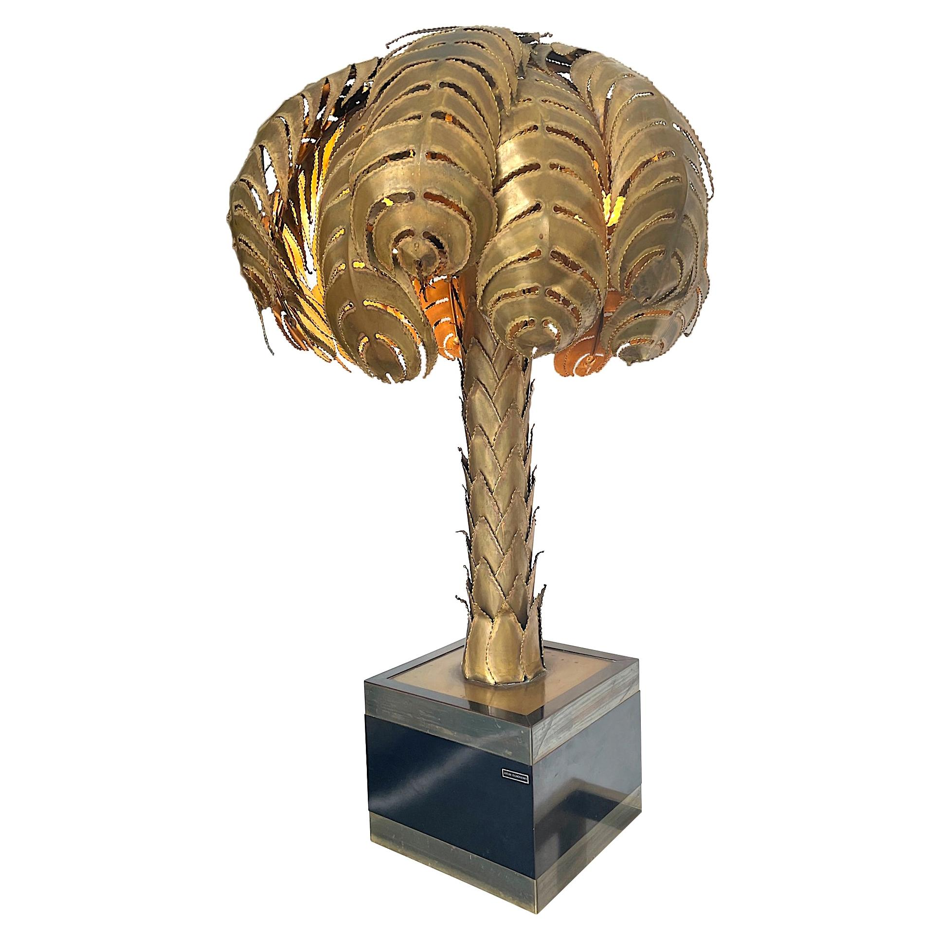 Orignal Maison Jansen Torch Cut Brass Palm Tree Lamp with Original Label