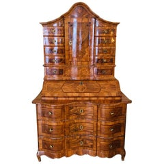 Original Baroque Tabernacle Secretary 18th Century Walnut