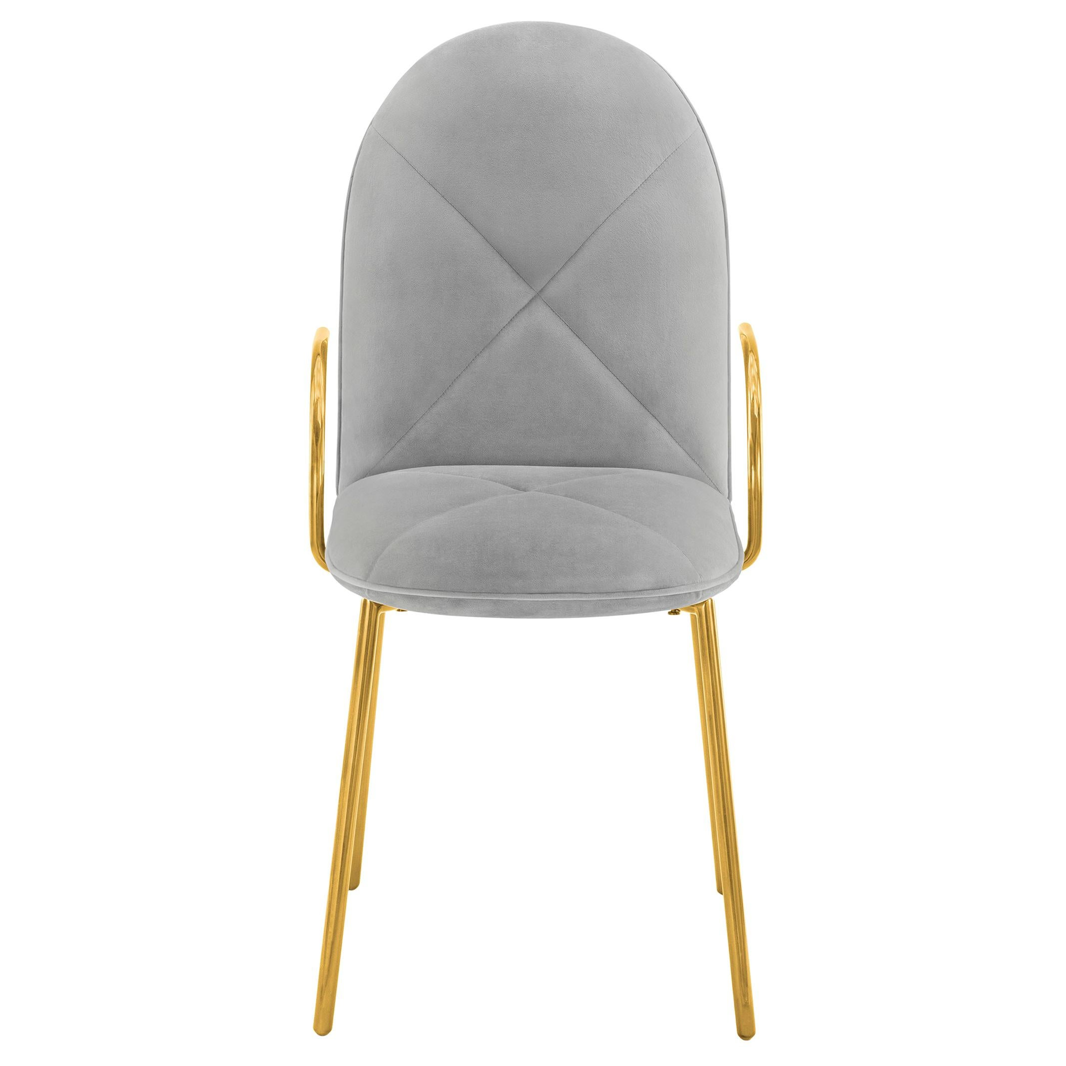 Orion Dining Chair with Plush Gray Velvet and Gold Arms by Nika Zupanc