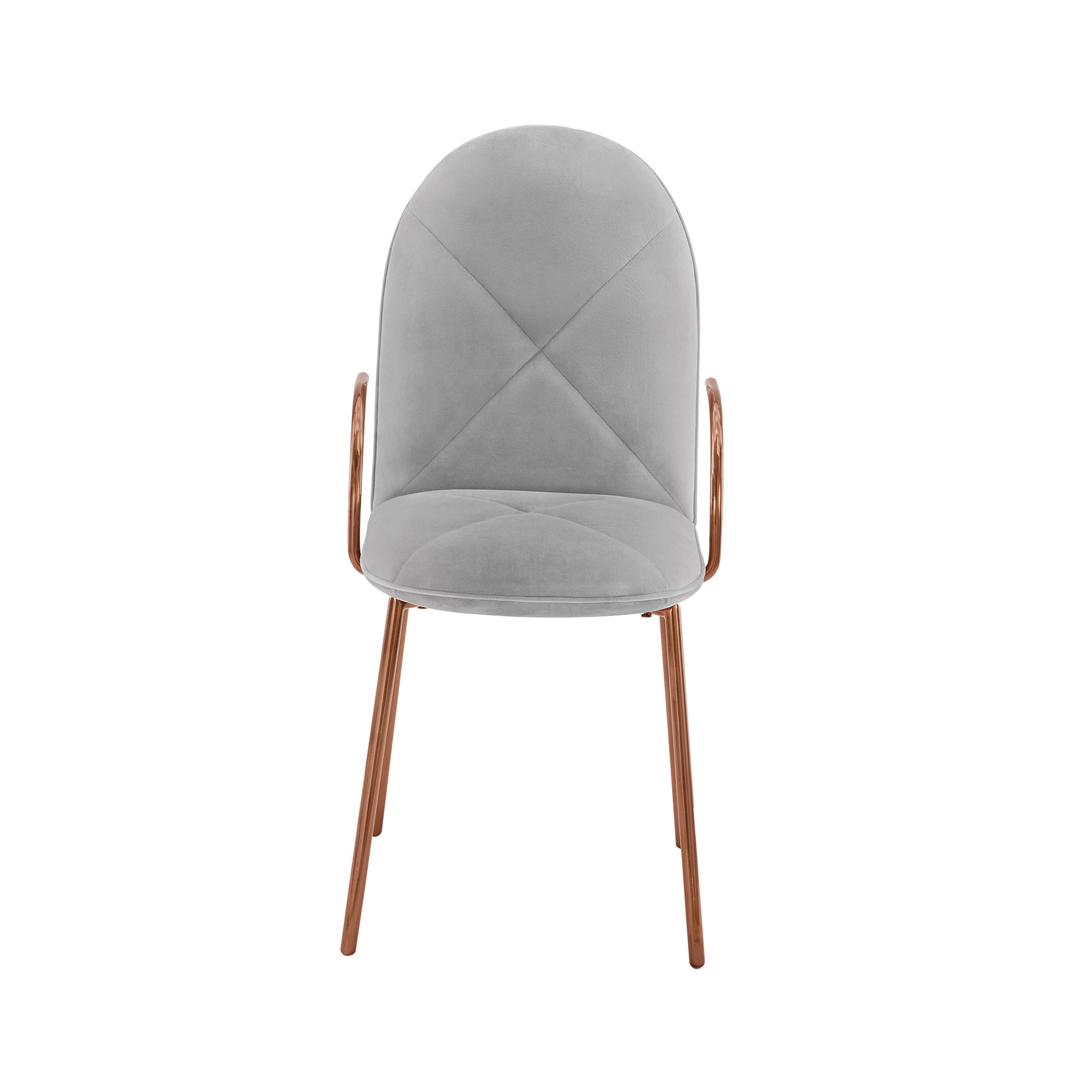 Orion Dining Chair with Plush Gray Velvet and Rose Gold Arms by Nika Zupanc
