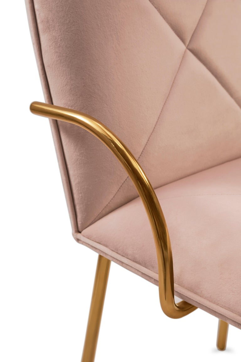 Hand-Crafted Orion Dining Chair with Plush Pink Velvet and Gold Arms by Nika Zupanc For Sale