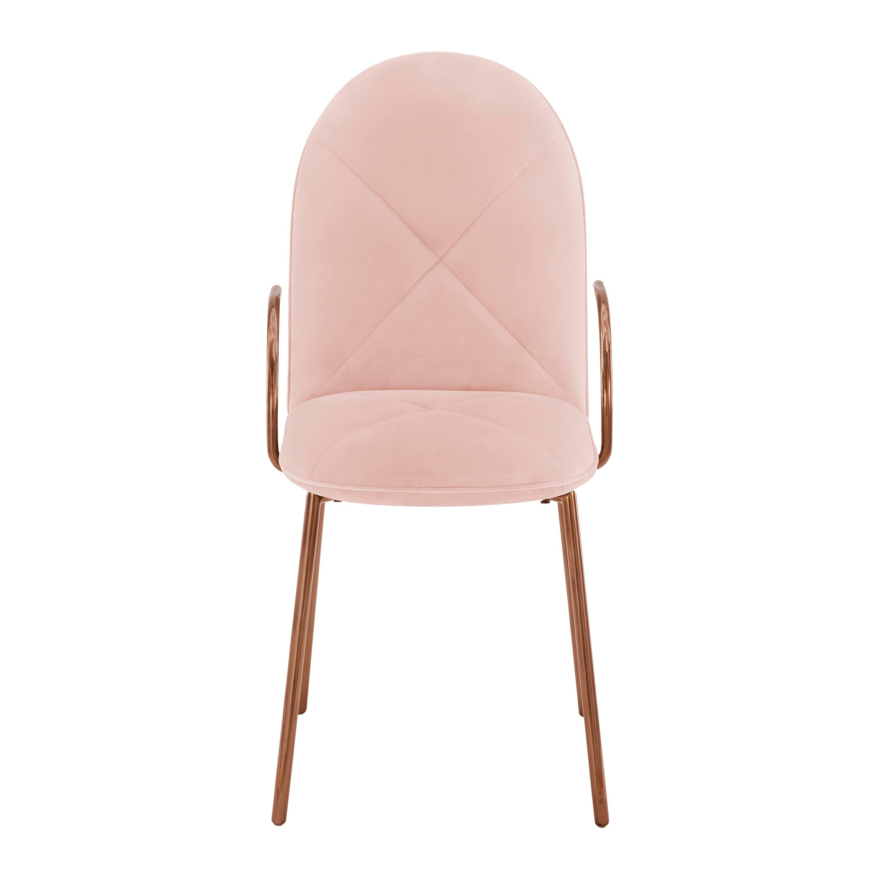 Orion Dining Chair with Plush Pink Velvet and Rose Gold Arms by Nika Zupanc