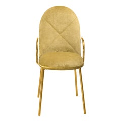 Orion Dining Chair with Gold Dedar Velvet and Gold Arms by Nika Zupanc