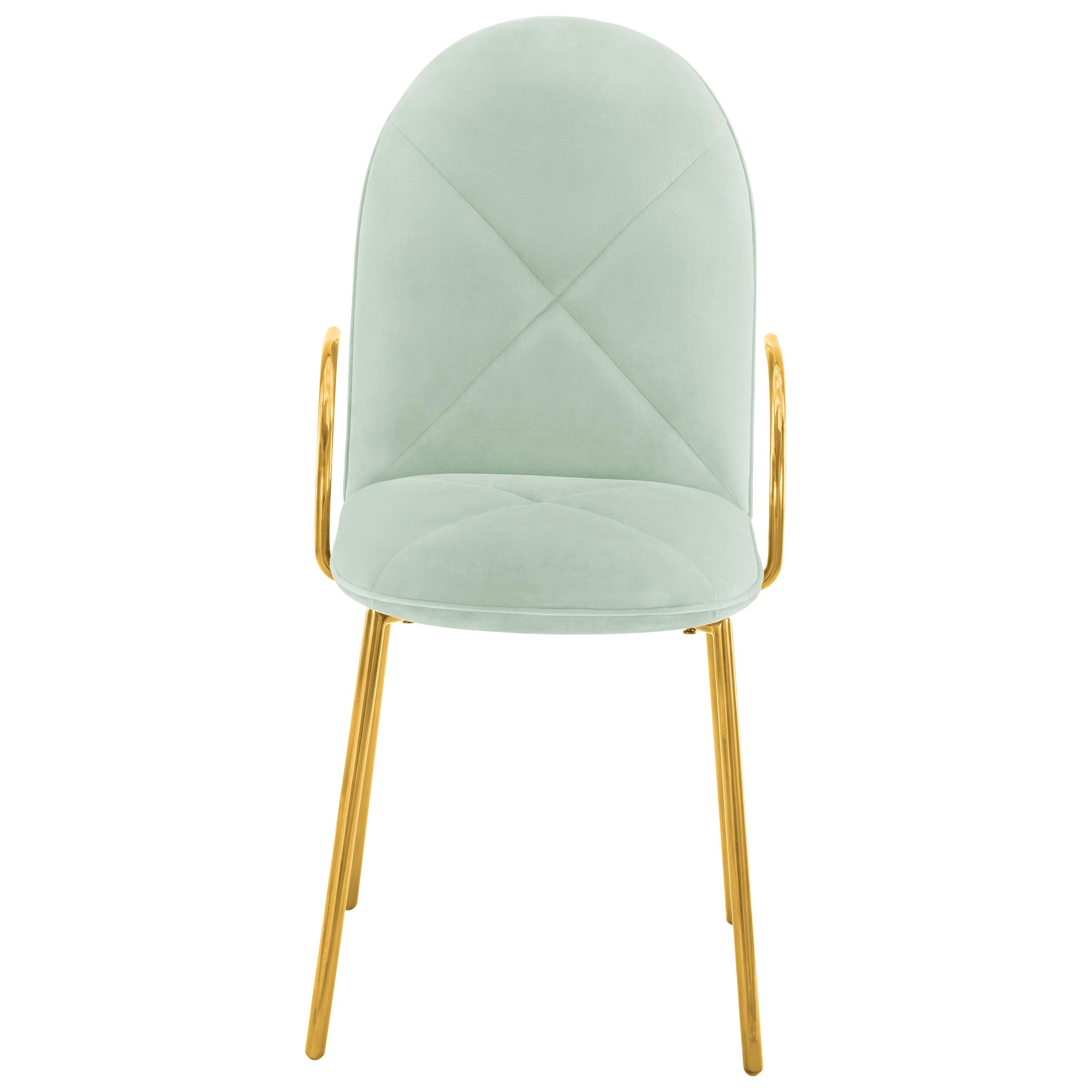 Orion Dining Chair with Plush Mint Green Velvet and Gold Arms by Nika Zupanc