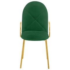 Orion Dining Chair with Plush Green Velvet and Gold Arms by Nika Zupanc