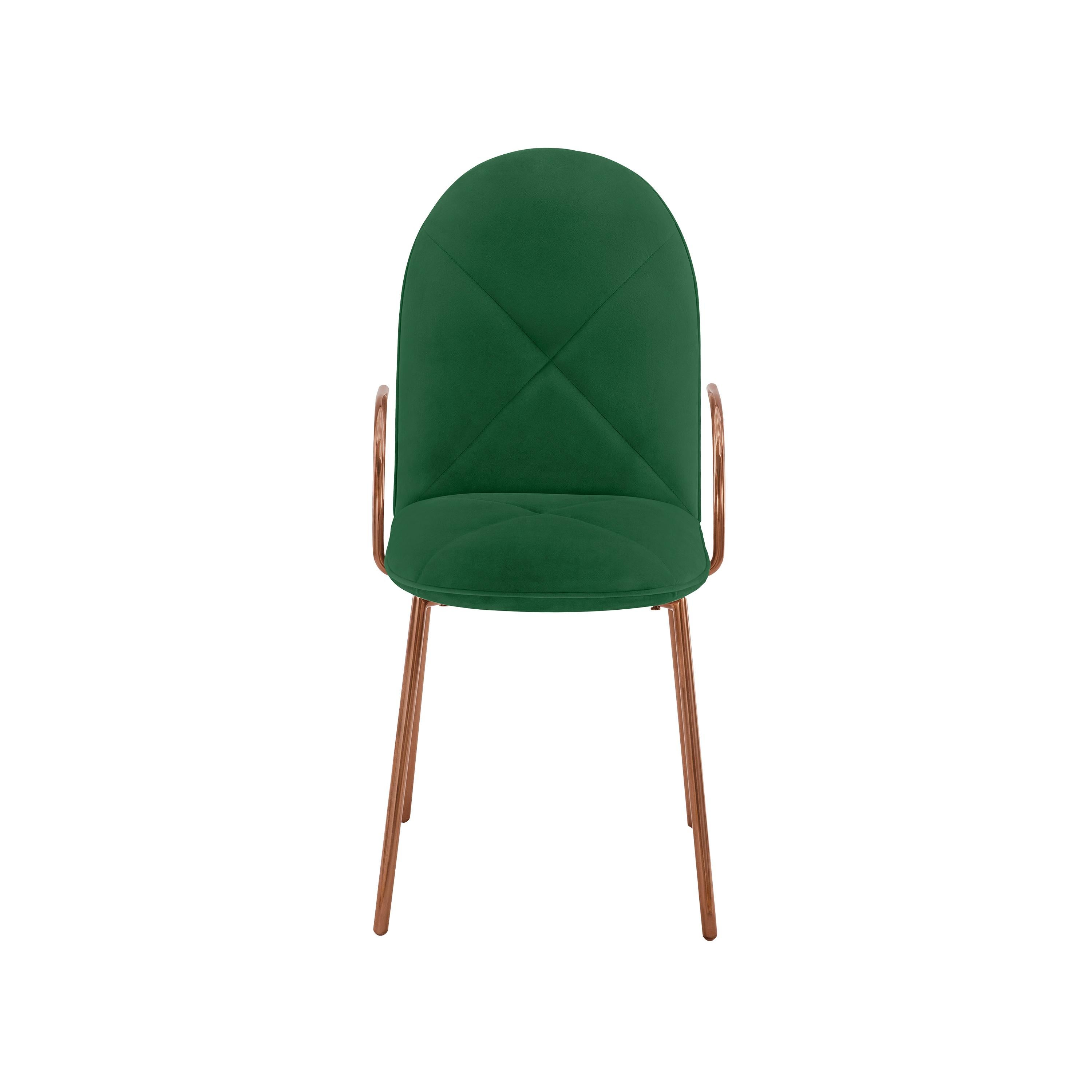 Orion Dining Chair with Plush Green Velvet and Rose Gold Arms by Nika Zupanc