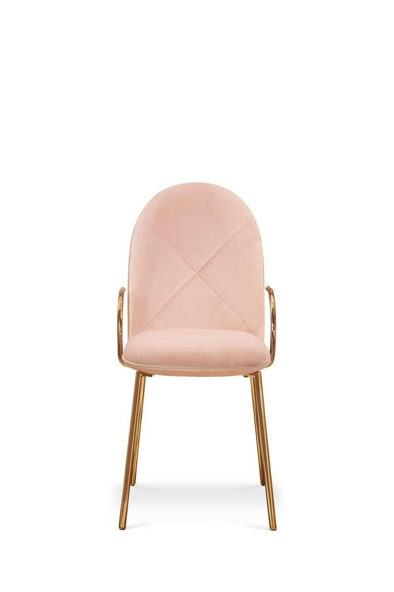 Designed by Nika Zupanc for the 88 Secrets Collection, this beautifully hand crafted Orion dining chair is featured here in a pale pink upholstery and finished in gold metal.   The seat, ideal as a dining chair yet, easily translates as an accent