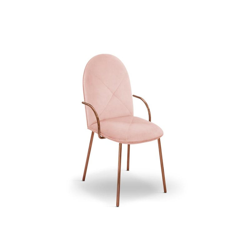 Designed by Nika Zupanc for the 88 Secrets Collection, this beautifully hand crafted Orion dining chair is featured here in a pale pink, or blush, upholstery and finished in rose gold metal.   The seat, ideal as a dining chair yet, easily translates