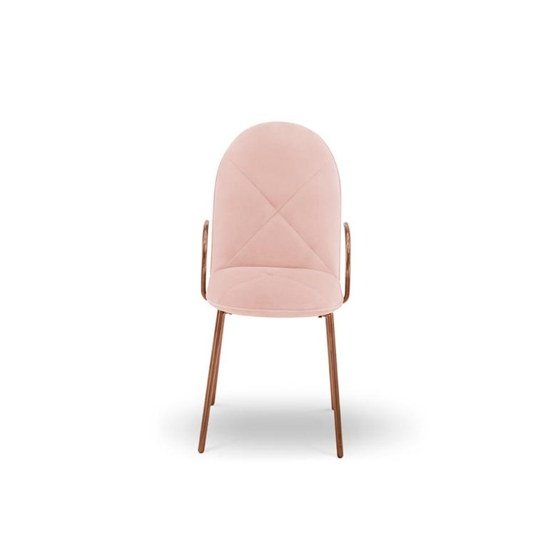 Modern Orion Dining Chair Upholstered in Blush with Rose Gold Finish by Nika Zupanc For Sale