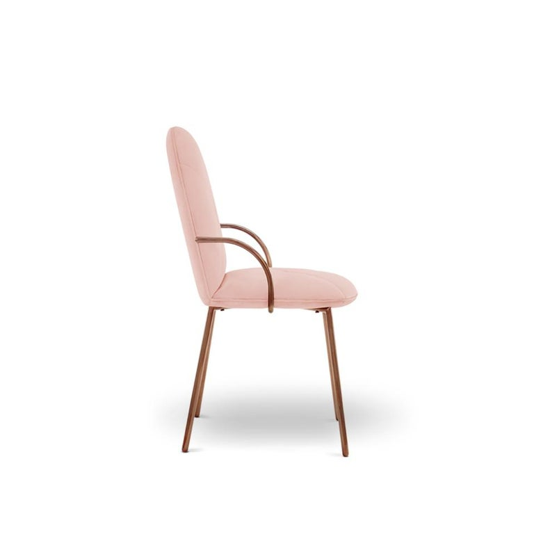 Indian Orion Dining Chair Upholstered in Blush with Rose Gold Finish by Nika Zupanc For Sale