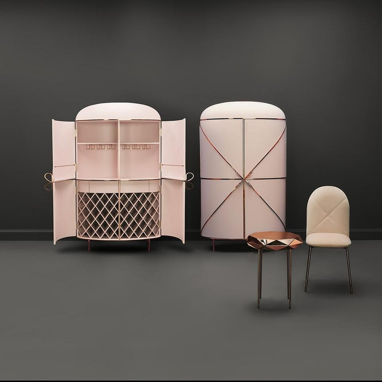 Orion Dining Chair Upholstered in Blush with Rose Gold Finish by Nika Zupanc In New Condition For Sale In New York, NY
