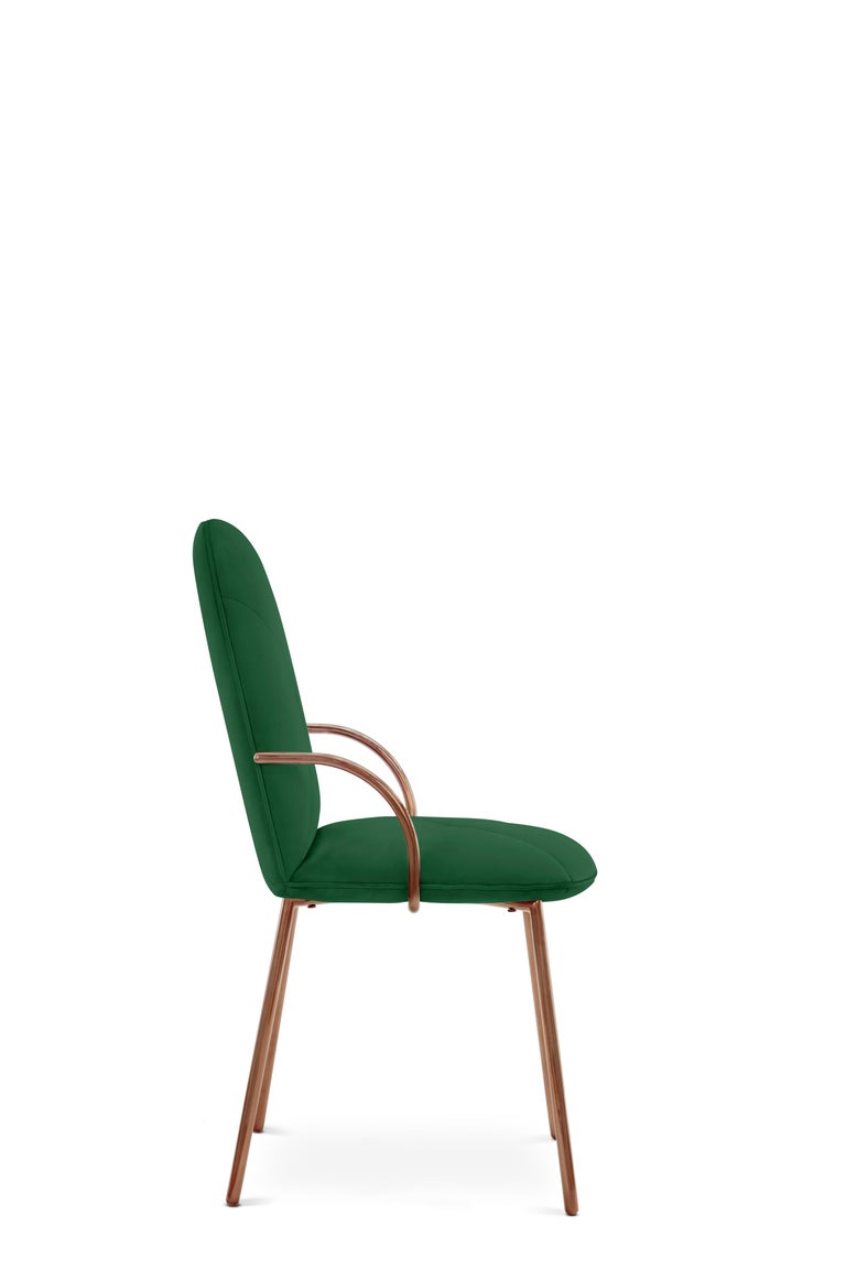 Modern Orion Dining Chair Upholstered in Emerald with Rose Gold Finish by Nika Zupanc For Sale