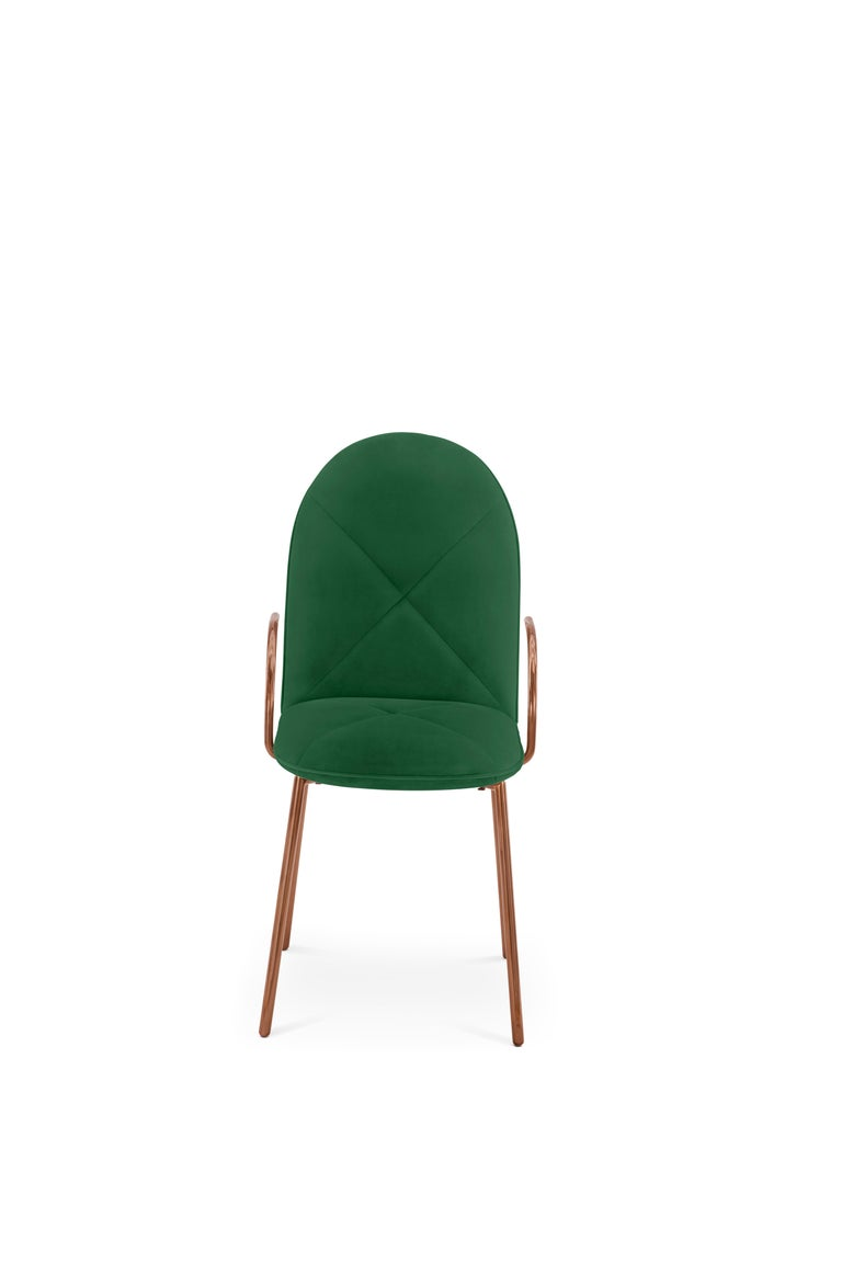 Indian Orion Dining Chair Upholstered in Emerald with Rose Gold Finish by Nika Zupanc For Sale
