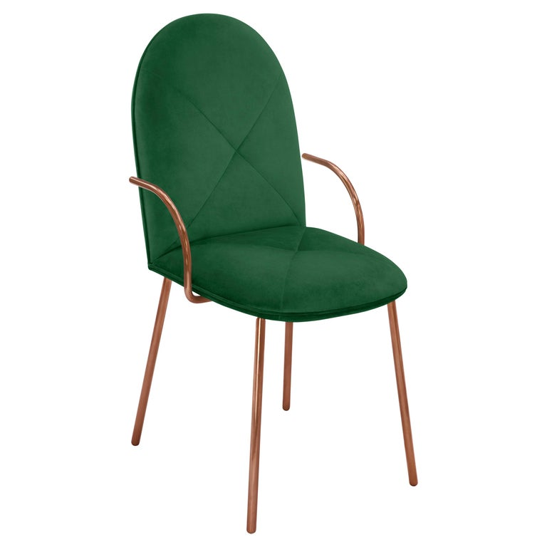 Orion Dining Chair Upholstered in Emerald with Rose Gold Finish by Nika Zupanc For Sale