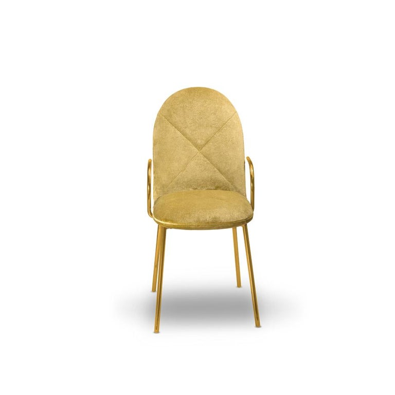 Modern Orion Dining Chair Upholstered in Gold Velvet w Gold Metal Finish by Nika Zupanc For Sale