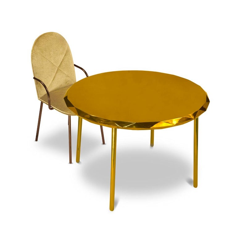 Indian Orion Dining Chair Upholstered in Gold Velvet w Gold Metal Finish by Nika Zupanc For Sale