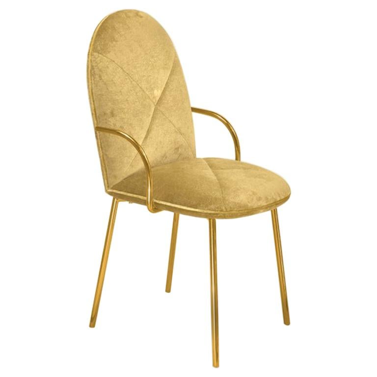 Orion Dining Chair Upholstered in Gold Velvet w Gold Metal Finish by Nika Zupanc For Sale