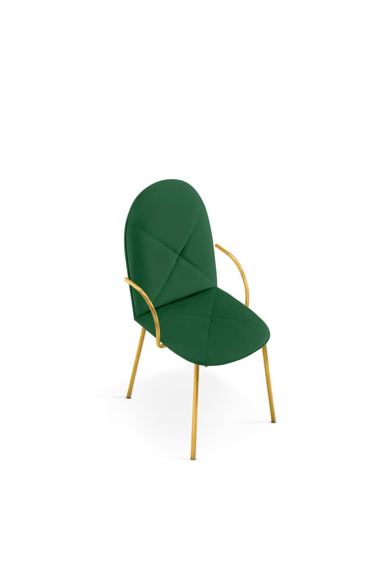 Modern Orion Dining Chair Upholstered in Green with Gold Metal Finish by Nika Zupanc For Sale