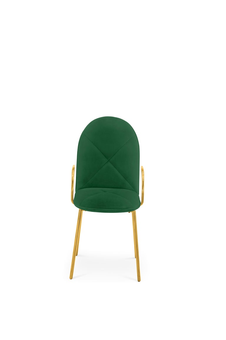 Indian Orion Dining Chair Upholstered in Green with Gold Metal Finish by Nika Zupanc For Sale
