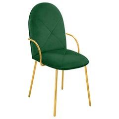 Scharlachroter Pracht Orion Stuhl in grün mit Gold-Finish von Nika Zupanc