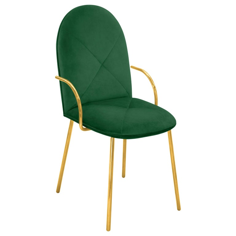 Orion Dining Chair Upholstered in Green with Gold Metal Finish by Nika Zupanc For Sale