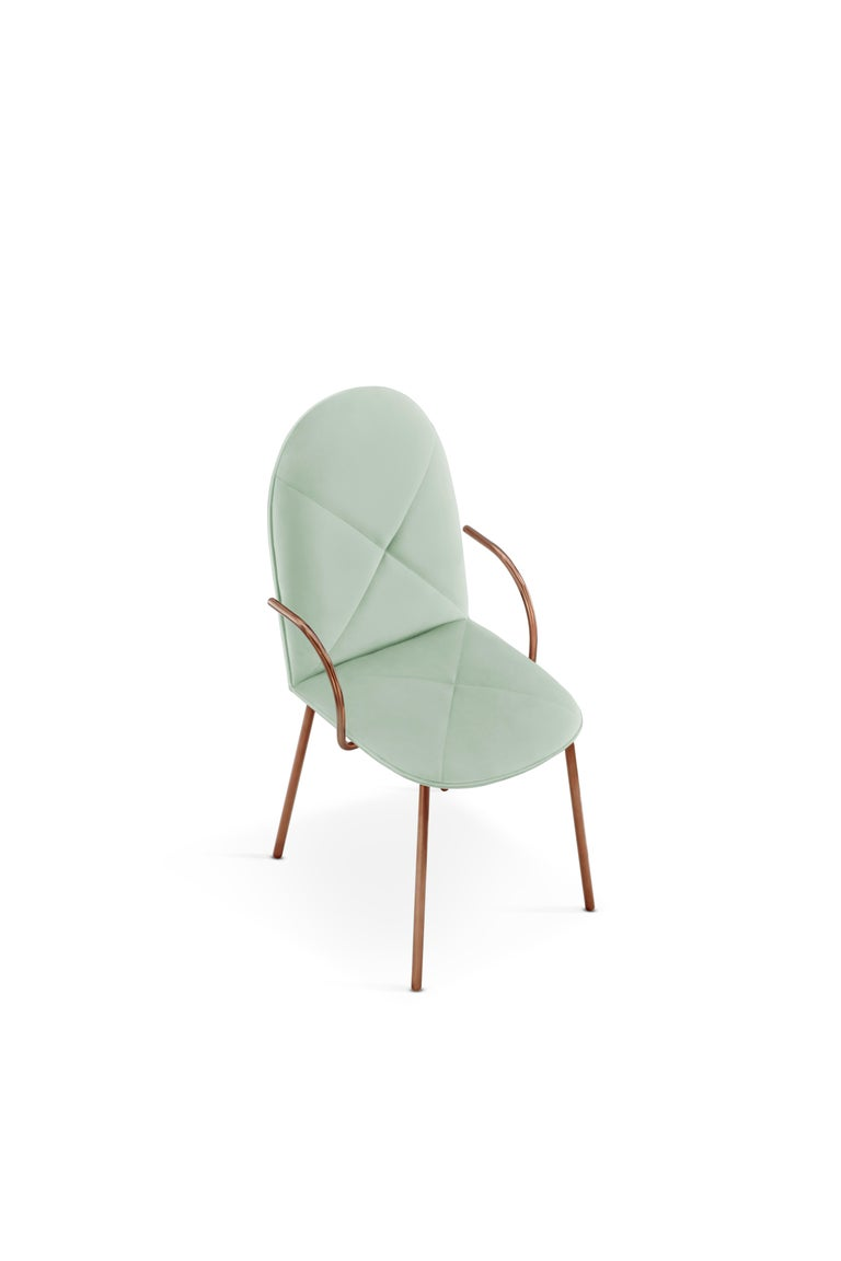Designed by Nika Zupanc for the 88 Secrets Collection, this beautifully hand crafted Orion dining chair is featured here in a jade upholstery and finished in rose gold metal.   The seat, ideal as a dining chair yet, easily translates as an accent