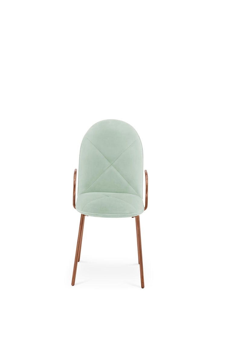 Modern Orion Dining Chair Upholstered in Jade with Rose Gold Finish by Nika Zupanc For Sale