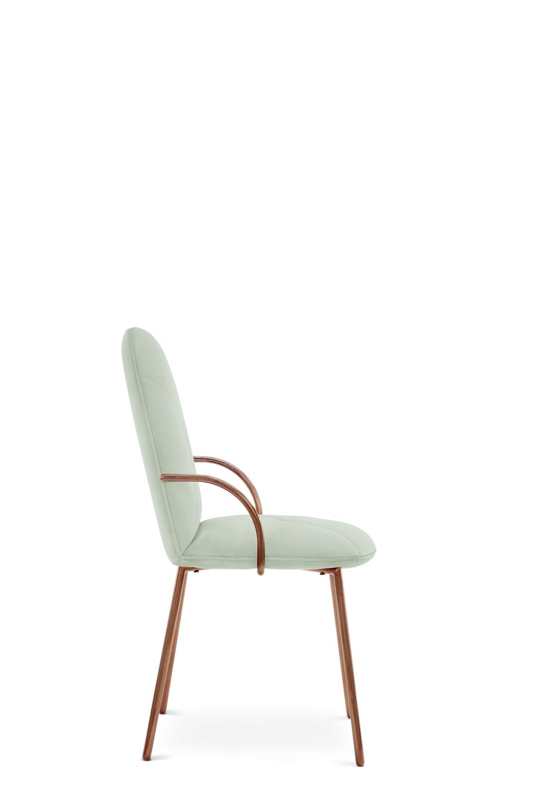 Indian Orion Dining Chair Upholstered in Jade with Rose Gold Finish by Nika Zupanc For Sale