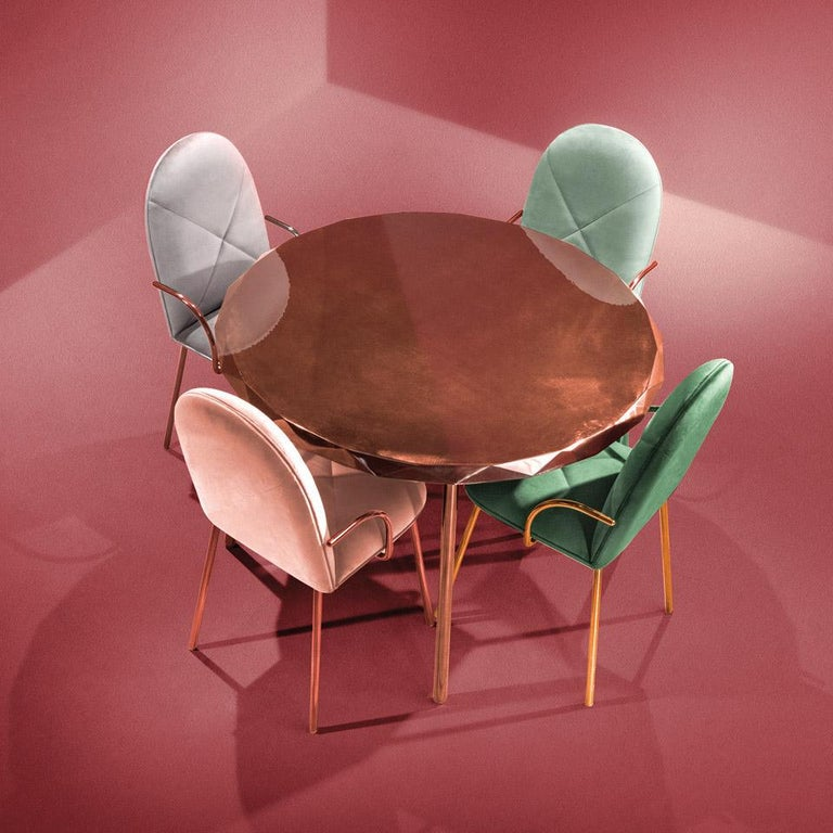Orion Dining Chair Upholstered in Jade with Rose Gold Finish by Nika Zupanc In New Condition For Sale In New York, NY